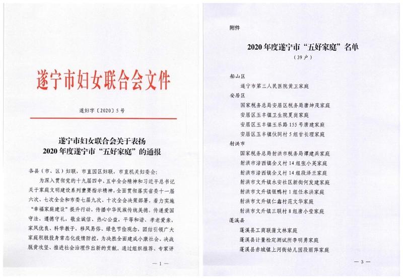 """射洪税务5户家庭分获遂宁市""""五好家庭""""和""""最美家庭"""""""